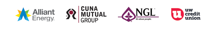 Alliant Energy, CUNA Mutual Group, NGL, and UW Credit Union logos