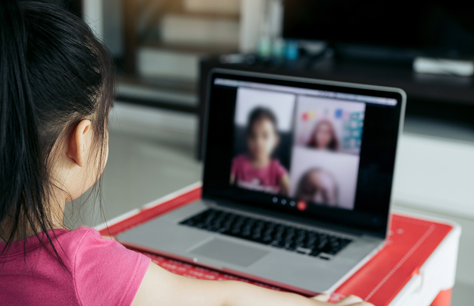 remote learning girl at computer